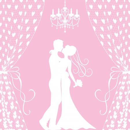 Wedding card with kissing groom and bride, curtains and chandelier Vector