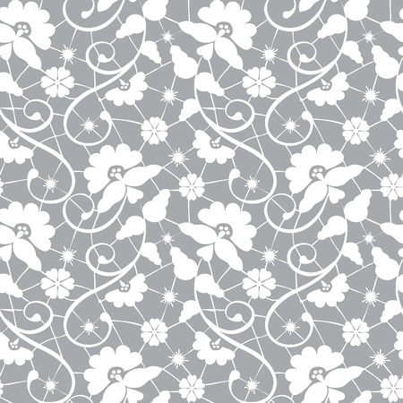 fabric swatch: Seamless white floral lace pattern on gray background Illustration