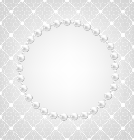 pearl jewelry: Pearl frame and lace background