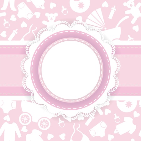 it s a girl: Baby shower card  It s a girl  Illustration