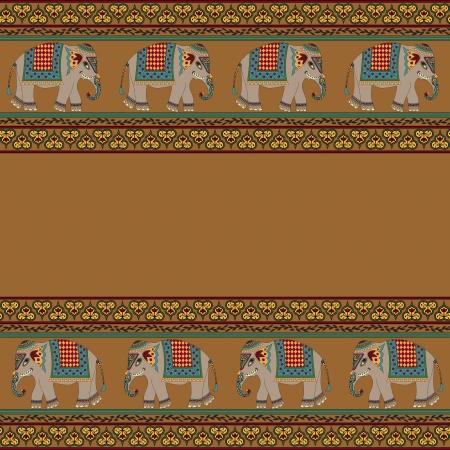 motif indiens: Seamless indien avec l'�l�phant