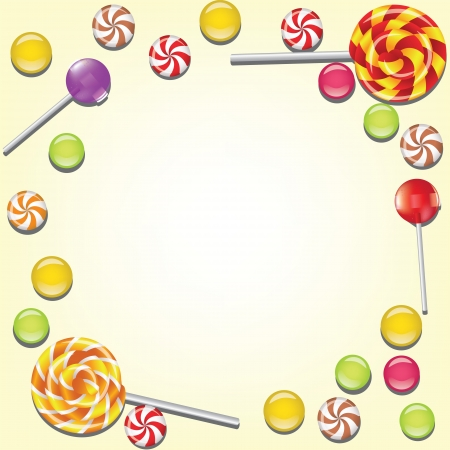 caramel: Background with candies frame