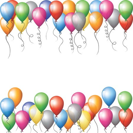 Colorful balloons flying in sky Vector