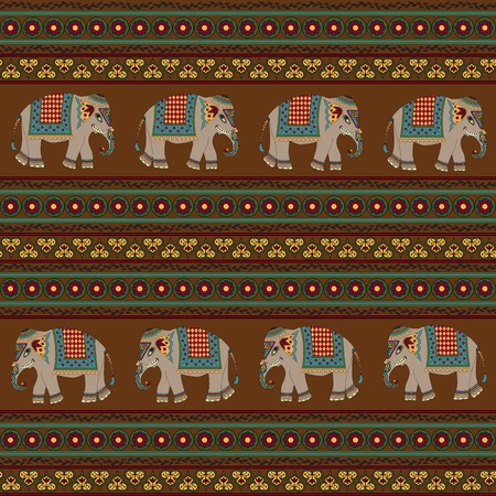 african grey: Seamless indian pattern with elephant