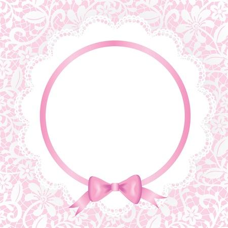 colliers: L'invitation de mariage ou carte de voeux avec de la dentelle et serviette Illustration