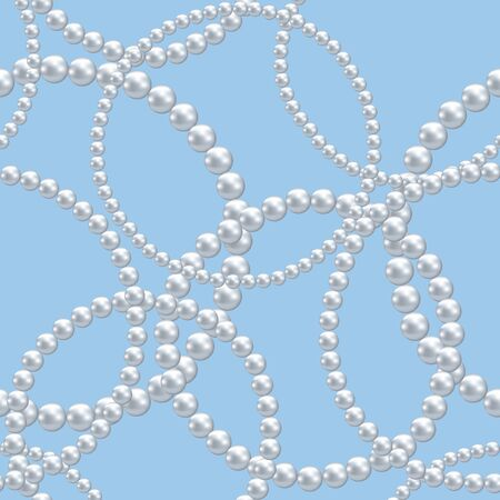 pearls and threads: seamless background with pearl necklace Illustration
