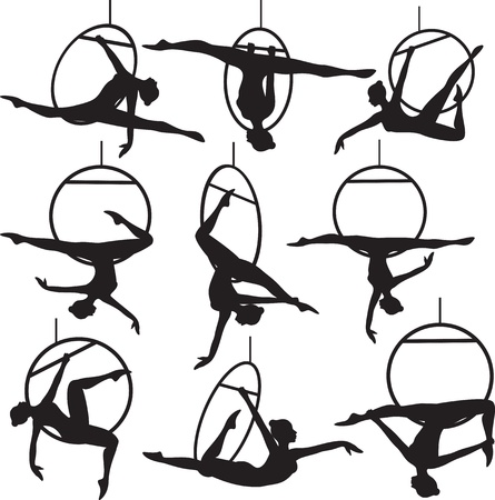 physical fitness: Set of aerial hoop acrobat woman silhouette