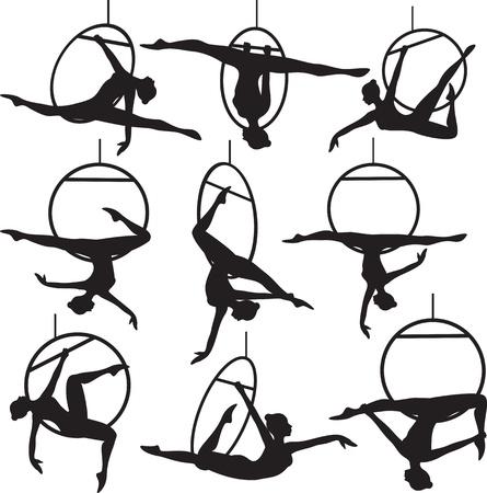Set van luchtfoto hoepel acrobaat vrouw silhouet Stock Illustratie