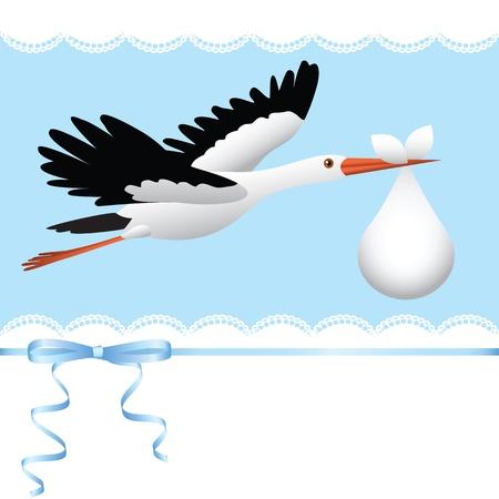 stork flying with bundle: Flying stork with bundle  Baby shower card Illustration