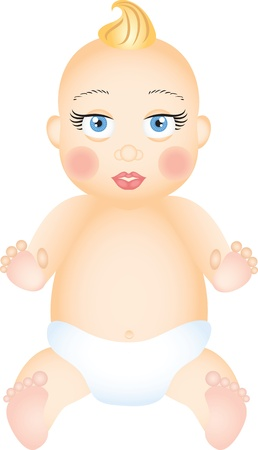 stylistic: Happy sitting baby with diaper Illustration