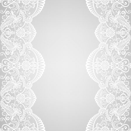 retro lace: Wedding invitation or greeting card with lace border