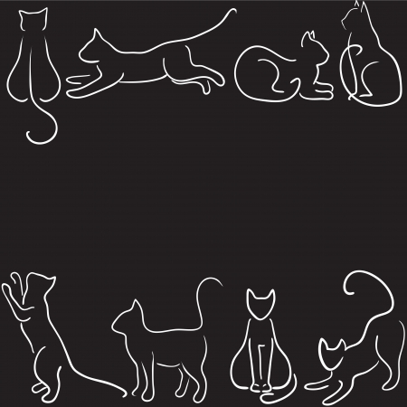 cat stretching: Black background with cat silhouette border
