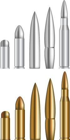 ammunition: Set of various bullets Illustration