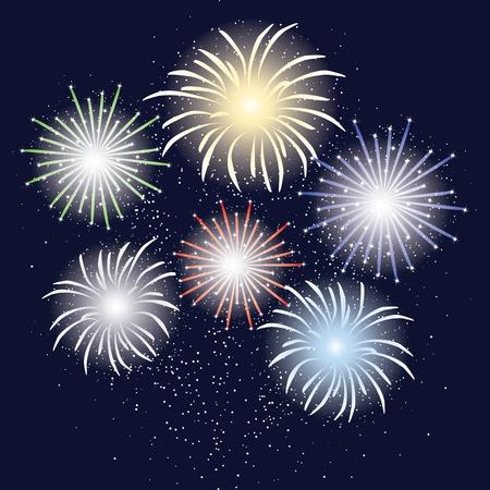 holliday: Holliday fireworks in dark sky Illustration