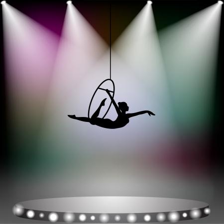 Luchtacrobatiek vrouw op circus podium met spotlights Stock Illustratie