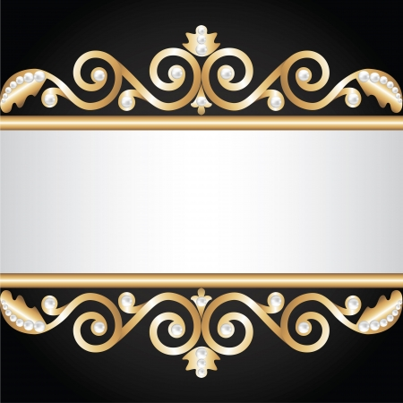baroque pearl: Background with gold jewelry frame