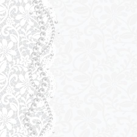 perlas: Boda, invitaci?n o tarjetas de felicitaci?n con fondo de encaje y collar de perlas