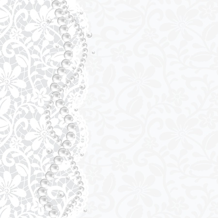 pearls: Wedding, invitation or greeting card with lace background and pearl necklace