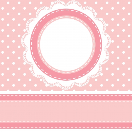 doily: Baby shower card with polka dot background with lace napkin