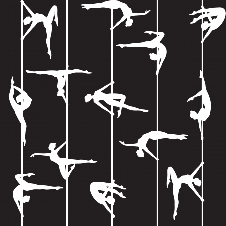 pole dance: pole dancer silhouette