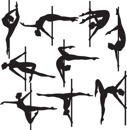 танцор: силуэт полюс танцор Иллюстрация