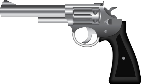Metal revolver isolated on white Vector