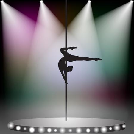 pole dance: Pole dancer sul palco con faretti Vettoriali