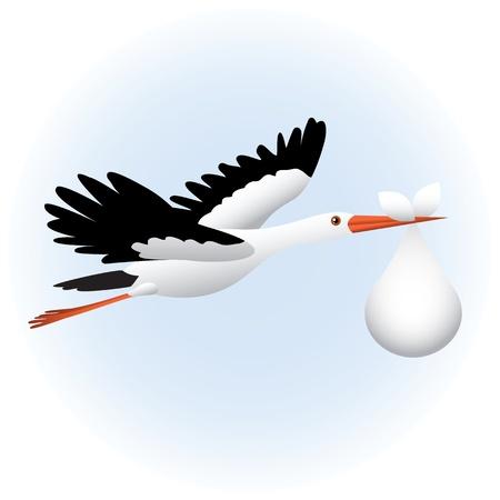 Fliegender Storch mit Baby
