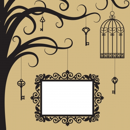 high key: Vintage card with cage, keys and frame on tree branch