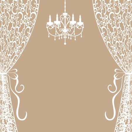 chandeliers: Vintage card with chandelier and curtains