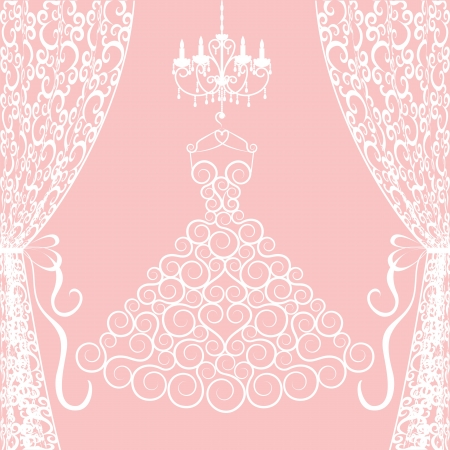 chandelier: Wedding card with dress, curtains and chandelier