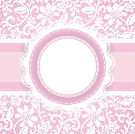 frau dusche: Hochzeit, Einladung oder Grusskarte mit Spitzen Hintergrund und Perlenkette Illustration