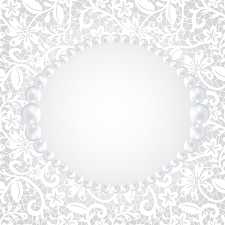 pearl frame and lace background Stock Vector - 19907776
