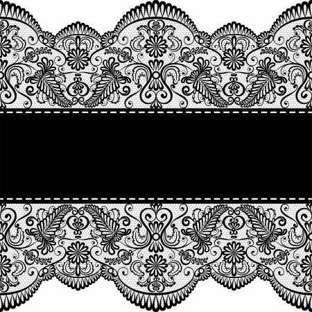 Template for wedding, invitation or greeting card with lace border Illustration