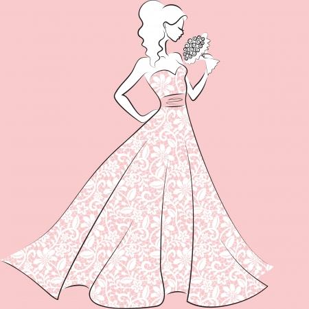 traje de gala: silueta de la novia en traje de novia de encaje con el ramo