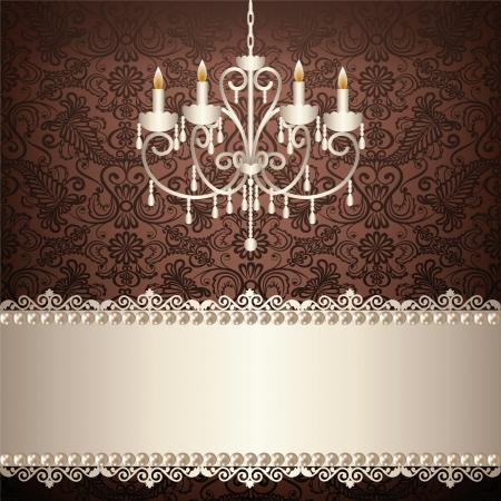 antiek behang: antieke kroonluchter licht in de kamer met vintage behang Stock Illustratie