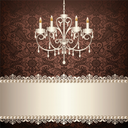 antique chandelier light in the room with vintage wallpaper Vector