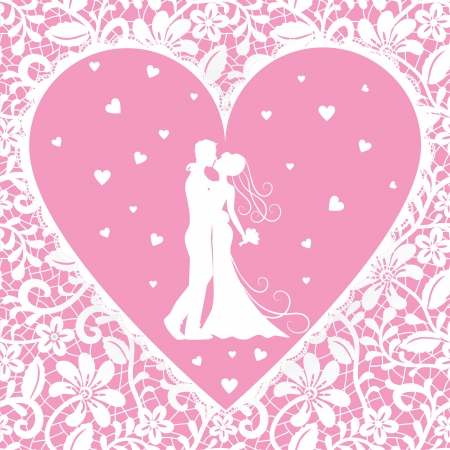 bride groom silhouette: Wedding card with kissing groom and bride on lace background Illustration