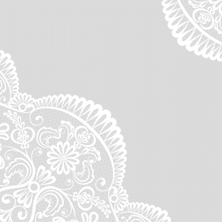 Template for wedding, invitation or greeting card with lace border Vector