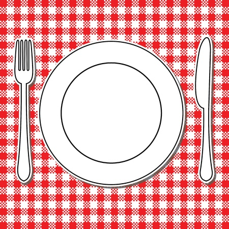 flatware: Plate, fork and knife on tablecloth