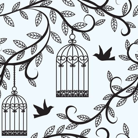birds silhouette: Seamless background with branch of tree silhouette, birds flying and cage