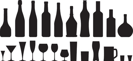 wine glass and bottle silhouettes set Vector