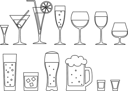 set of full goblets, wine glass and mug of beer  Stock Vector - 19846181