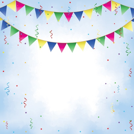 Bunting, confetti, serpentine and sky with clouds Vector