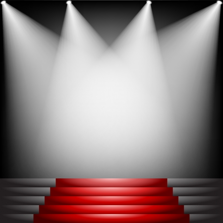 red carpet: Red carpet and stairs with spotlight