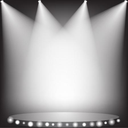 White spotlights on stage  Иллюстрация