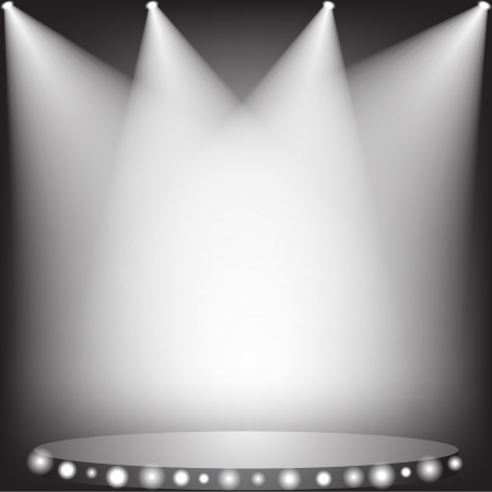 theater stage: White spotlights on stage  Illustration