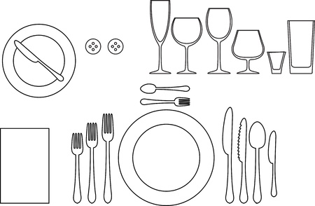 setting table: Outline silhouette of tableware  Etiquette proper table setting