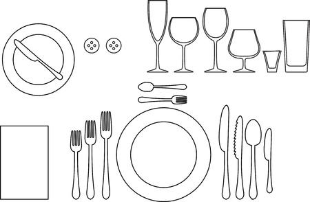Outline silhouette of tableware Etiquette proper table setting Stock Vector - 19846177  sc 1 st  123RF.com & Outline Silhouette Of Tableware Etiquette Proper Table Setting ...