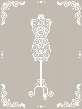 Maniquí de hierro forjado vintage en marco floral